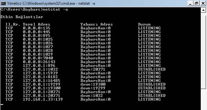 Cmd ile zararlı portların bulunması işlemi