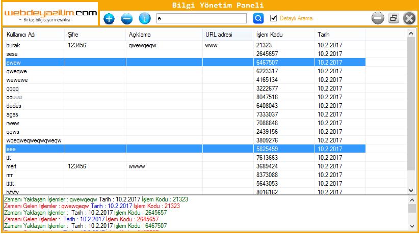 listview detaylı arama yapma ekran görüntüsü